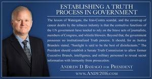 Andy 2016 presidential candidate establishing truth in government