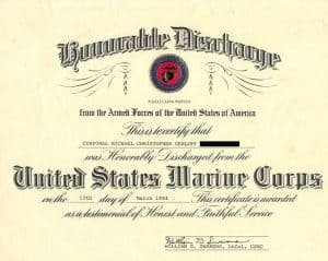 20 and back Discharge-USMC-DD256-1